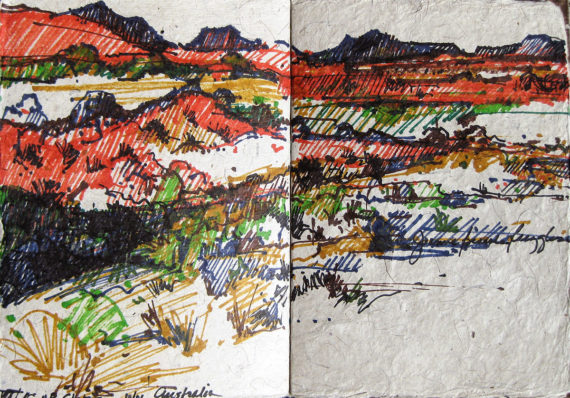 Australia & New Zealand sketchbook - cattle station scenery