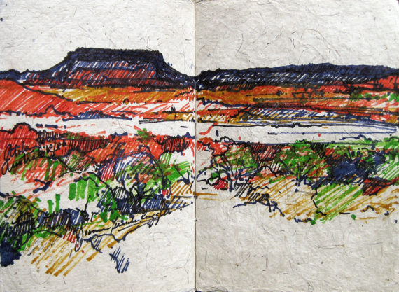 Australia & New Zealand sketchbook - on road to Uluru (or Ayers Rock)