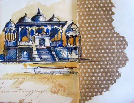 India sketchbook - temple complex at Ranthambore Fort