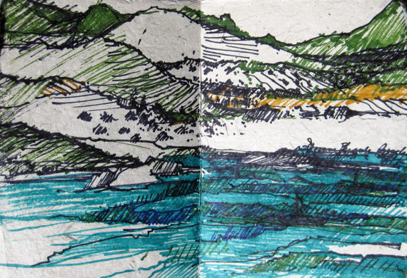 China & Tibet Sketchbook - cruising view on the Yangtze River