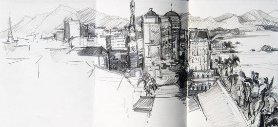 Vietnam & Cambodia sketchbook - Nha Trang harbor view